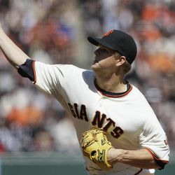 San Francisco Giants pitcher Matt Cain (18) delivers against the Pittsburgh Pirates during the fourth inning of a baseball game in San Francisco, Friday, April 13, 2012.