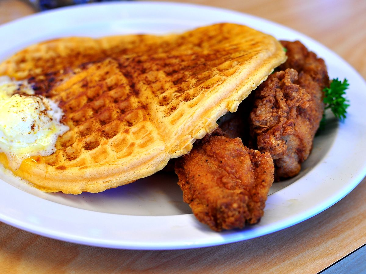 Chicken and waffles from Serving Spoon in Inglewood, California