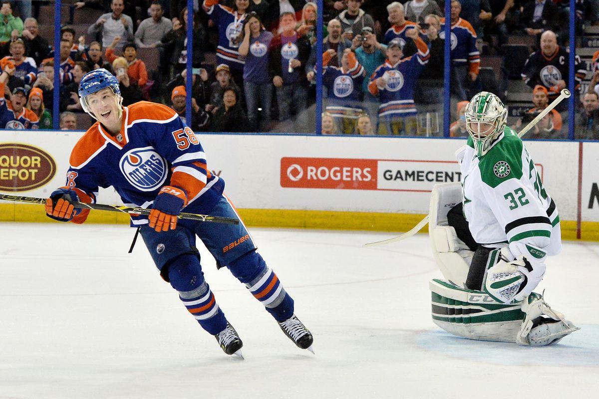 Andrew Miller scored his first NHL goal on a penalty shot against Kari Lehtonen.