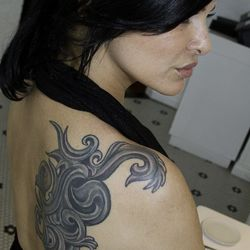 A close up of the tattoo.