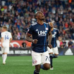 FOXBOROUGH, MA - MAY 11: New England Revolution forward Cristian Penilla #70 celebrates after scoring during the first half at Gillette Stadium on May 11, 2019 in Foxborough, Massachusetts. (Photo by J. Alexander Dolan - The Bent Musket)