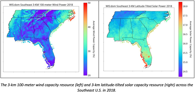 A comparison of wind and solar capacity resource in the Southeast US in 2018.