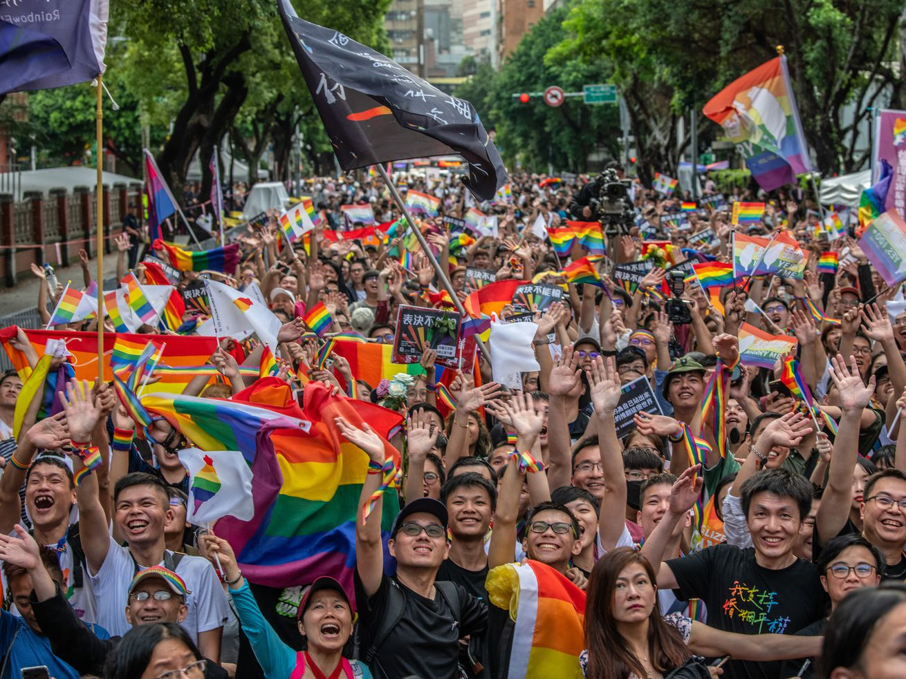 Celebrations in Taipei, Taiwan after Taiwan's parliament passed legislation to legalize same-sex marriage.