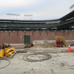 Another view of the left-field wall (note cinderblocks)