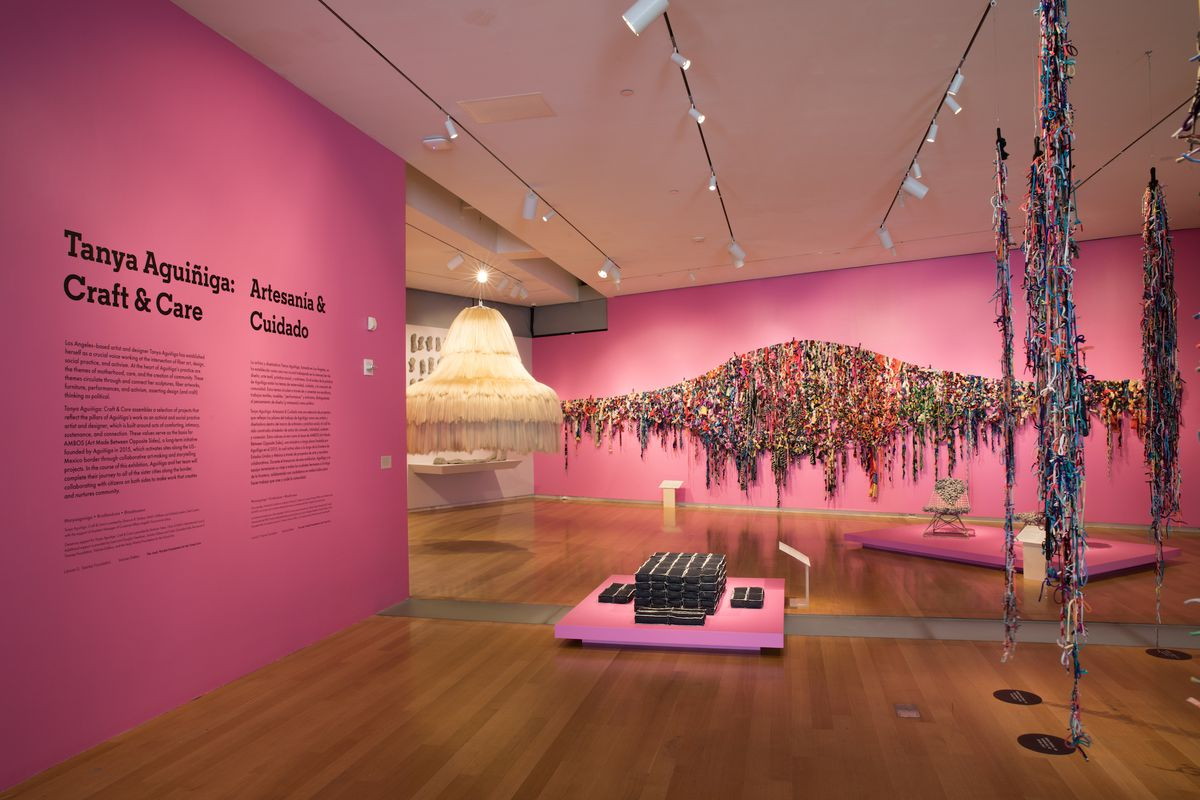 """""""Tanya Aguiñiga: Craft & Care"""" is the Mexican-American artist's first solo show at the Museum of Arts and Design and features a collection of her recent textile, performance, and furniture pieces."""