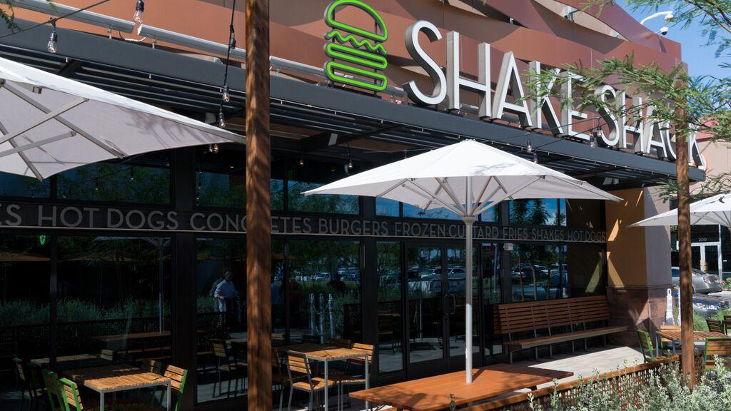 Patio tables outside of Shake Shack