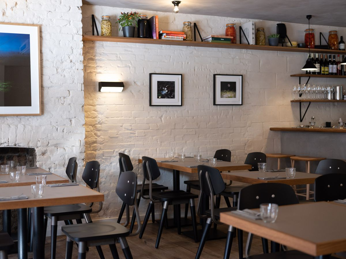 The dining room at Two Lights by chef Chase Lovecky in Shoreditch