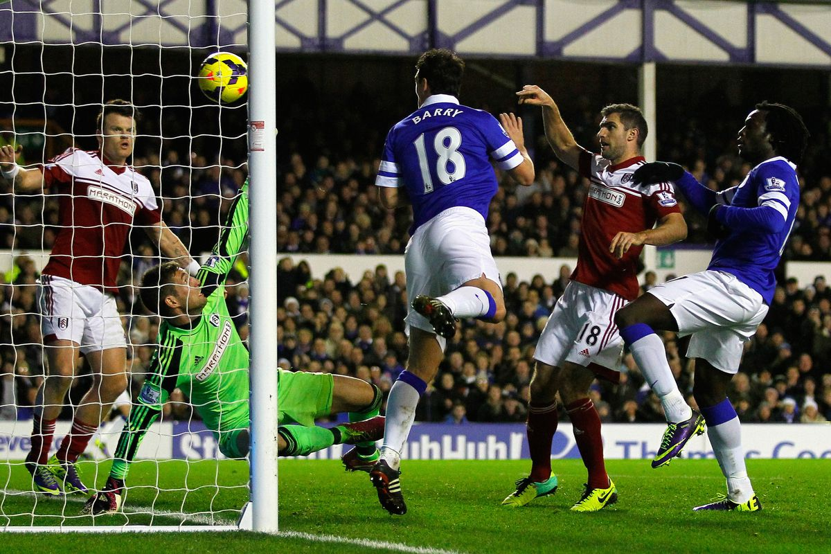 Barry scoring against Fulham. Yes, Gareth Barry. With his head.