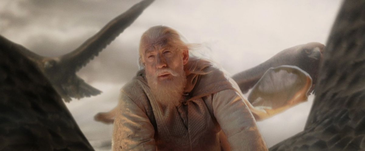 Gandalf (Ian McKellen) atop one of the eagles.