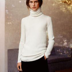 Cashmere rib turtleneck sweater, $129.90; cashmere blended wrap skirt, $89.90