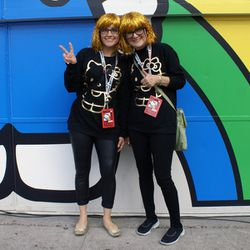 Attendees Kristine Smith and Naomi Wilson twinning it.