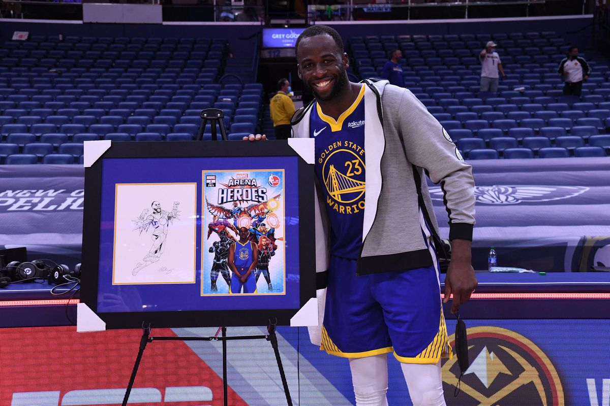 Draymond Green of the Golden State Warriors is presented with the Arena of Heroes award after the game against the New Orleans Pelicans on May 3, 2021 at the Smoothie King Center in New Orleans, Louisiana.