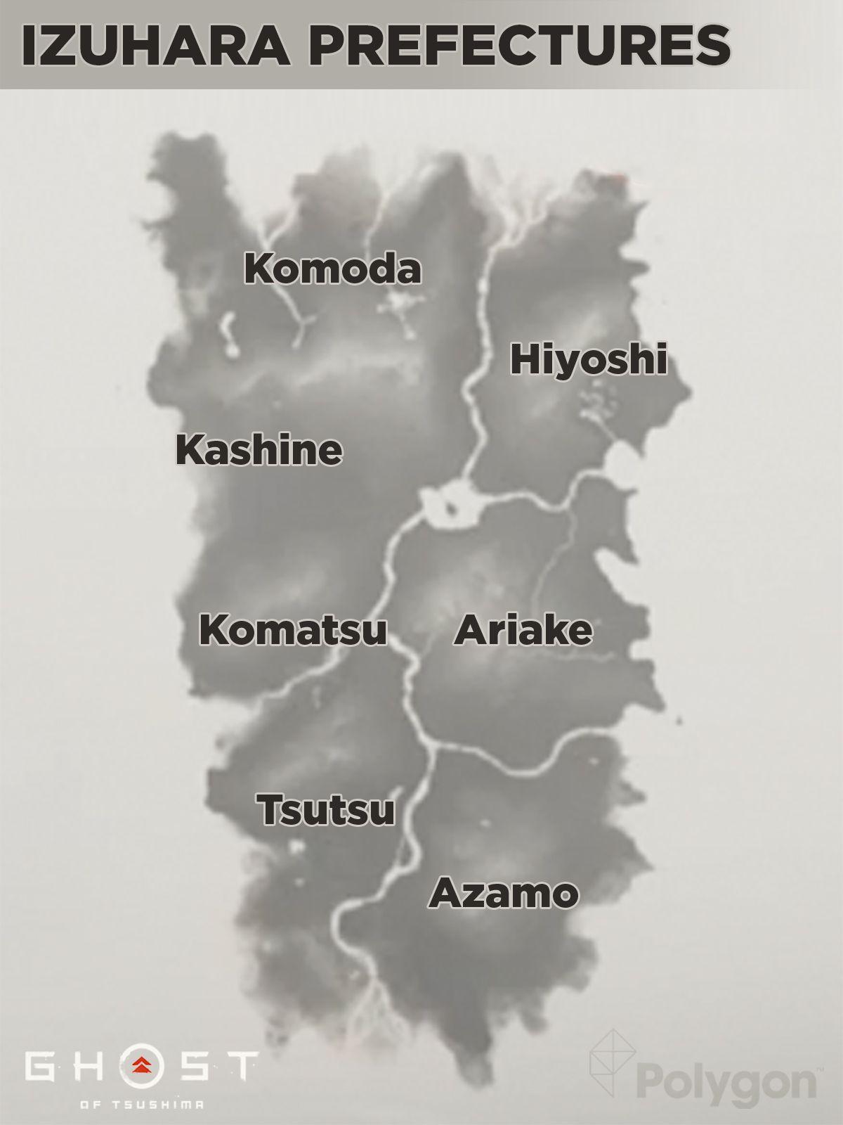 Ghost of Tsushima Izuhara prefectures map