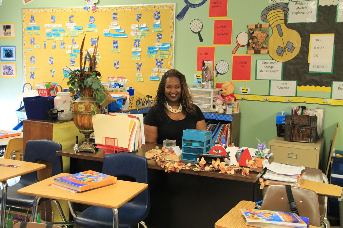 Melissa Collins' colorful second-grade classroom reflects her travels.