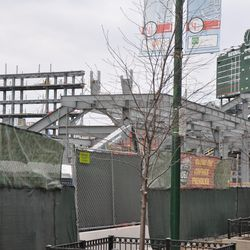A view of the new video board structure behind the right-field bleachers -