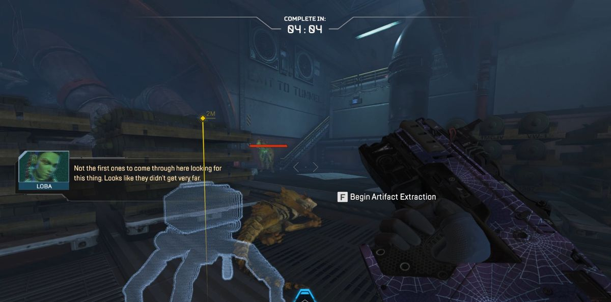 A player in Apex Legends' PvE event trying to extract the artifact