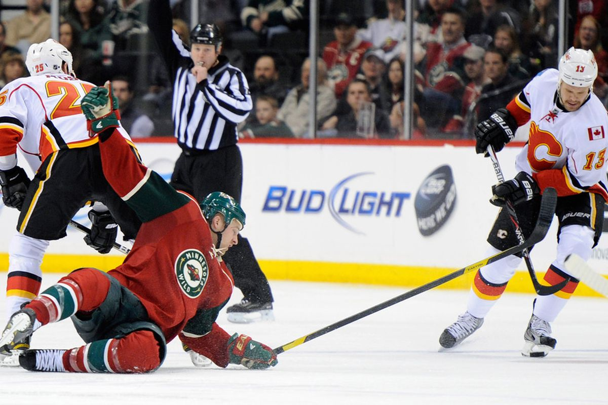 There sure are a lot of pictures of Wild players falling down lately. Probably a coincidence.