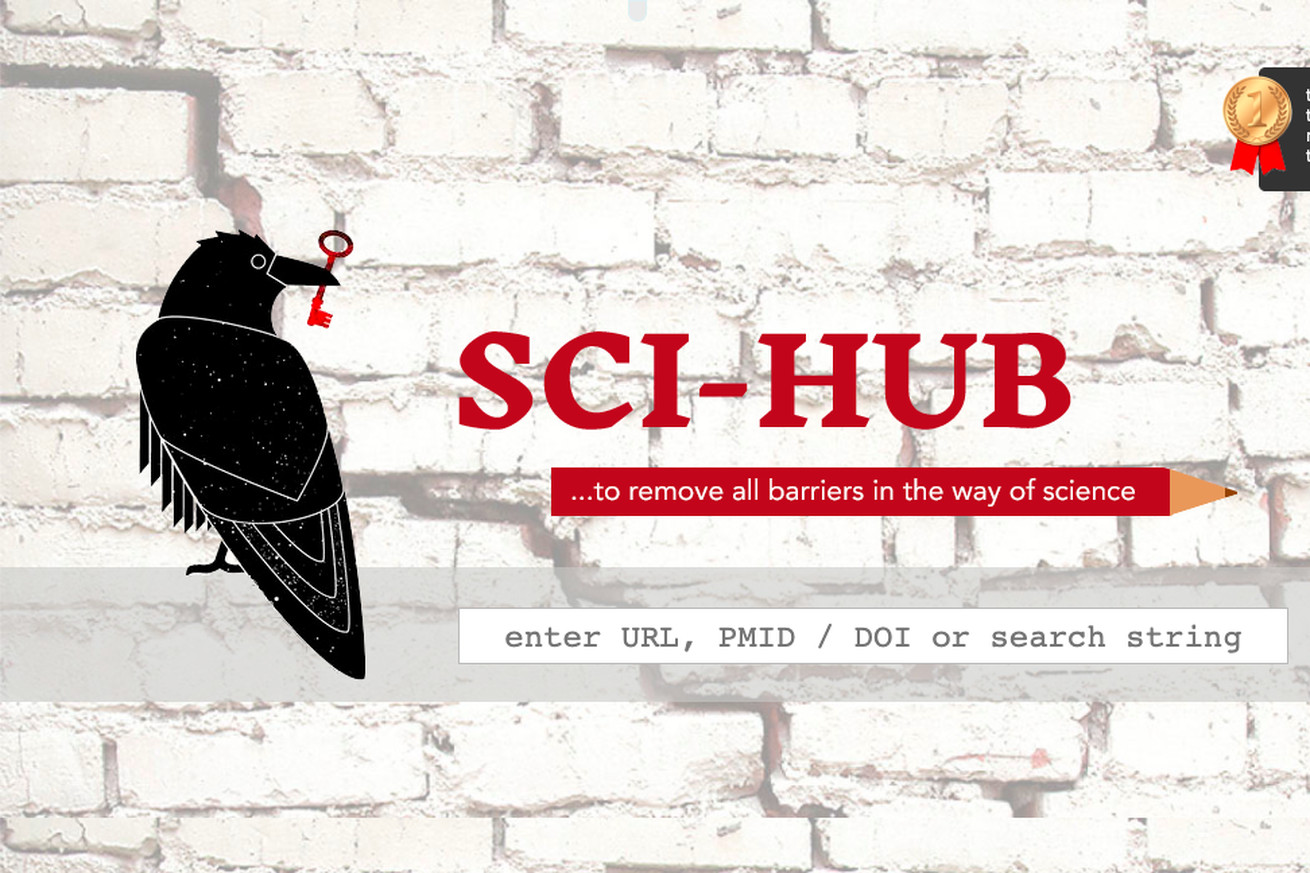 A screenshot of the Sci-Hub site, with its logo of a raven holding a red key, and a search bar for finding articles.