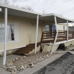 Damage to a mobile home in Magna is pictured after a 5.7 magnitudeearthquake hit the area early Wednesday, March 18, 2020.