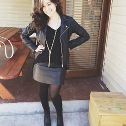 Our second full day in Austin was a little chillier, so I busted out some leather. Two items I can't imagine not having in my closet: <b>American Apparel</b> black leather mini skirt and a vintage leather jacket (found at <b>Zachary's Smile</b> in Greenwi