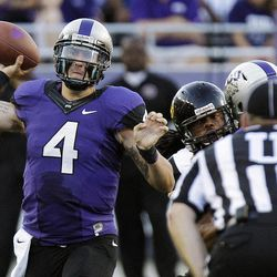 TCU quarterback Casey Pachall (4) throws during the first half of an NCAA college football game against Grambling State in Fort Worth, Texas, Saturday, Sept. 8, 2012.