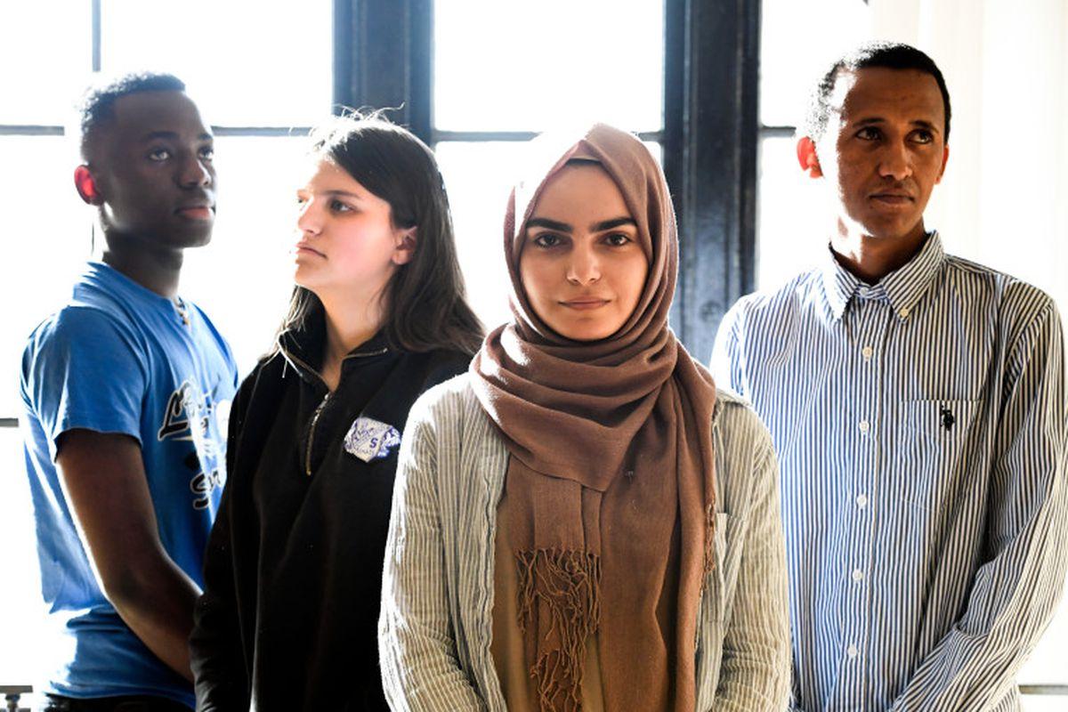 South High students Lionel Kulembwa, Eliana Goldberg, Zahra Abdulameer and Shambel Zeru pose for a portrait.