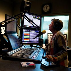 Peggy Woodruff, DJ for Classical 89, works in a studio at the BYU Broadcasting building in Provo on Friday, Oct. 27, 2017. Classical 89 KBYU-FM will go off the air as of June 2018.