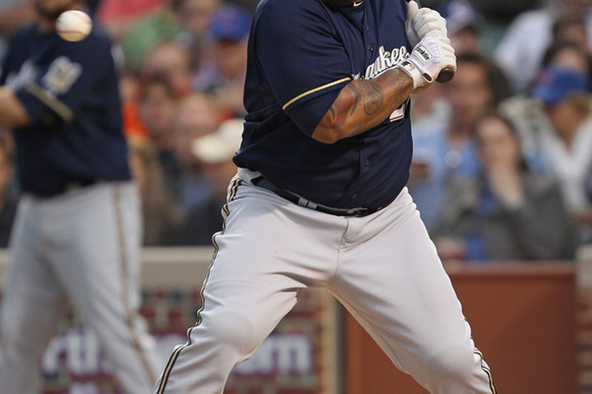 Prince Fielder watches ball four sail at him in the 3rd inning against the Cubs Tuesday.