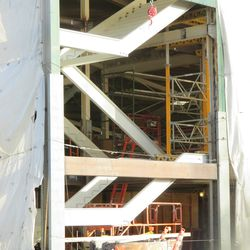 Closeup of stairway being constructed in the concourse -