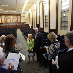 Elder Craig G. Fisher and sister Julia Walker Fisher show the tabernacle during the Ogden Utah Temple open house news media tour in Ogden, Tuesday, July 29, 2014.