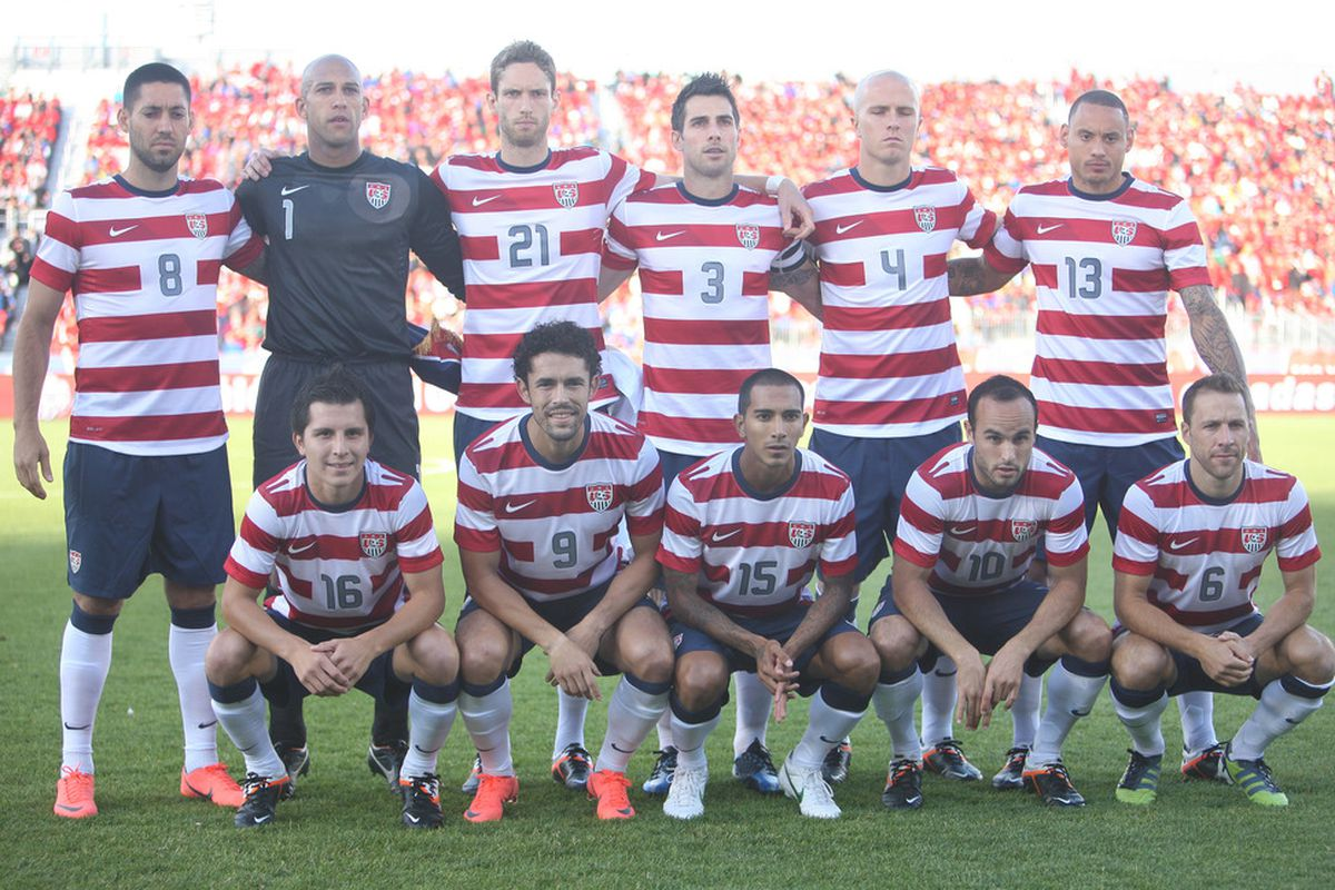 TORONTO, CANADA - JUNE 3: The starting lineup for USA pose for a team photo before playing against Canada during their international friendly match on June 3, 2012 at BMO Field in Toronto, Ontario, Canada. (Photo by Tom Szczerbowski/Getty Images)