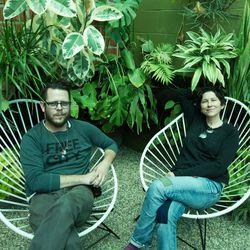 Pogue and Garduno relaxing.