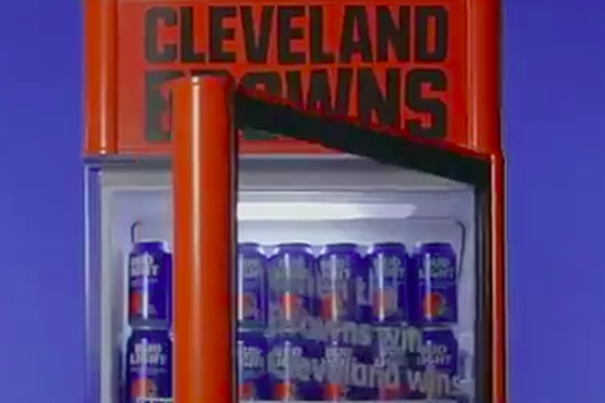 b6c32c43c Browns fans open Bud Light fridges to celebrate a win with free beer ...
