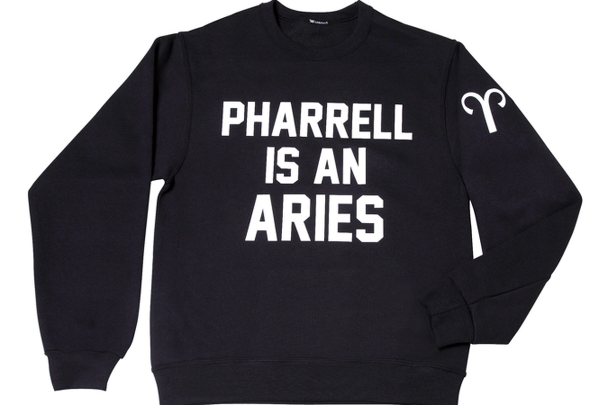 """Pharrell is an Aries Crewneck Sweatshirt, <a href=""""http://private-party.myshopify.com/"""">Private Party</a>, $79"""