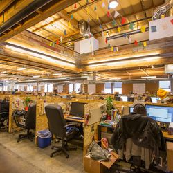 There are approximately 380 employees at the LA HQ and the open space (as opposed to individual offices) encourages the free flow of collab energy.