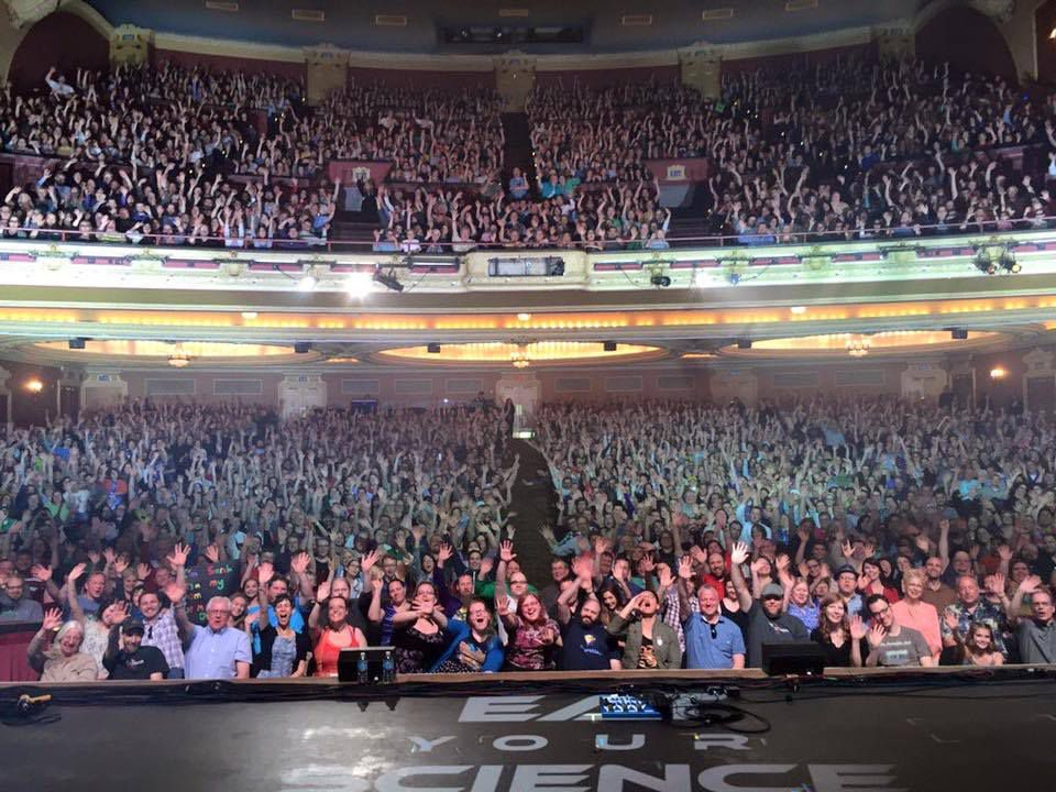 Alton Brown's view inside the Orpheum theater last night.