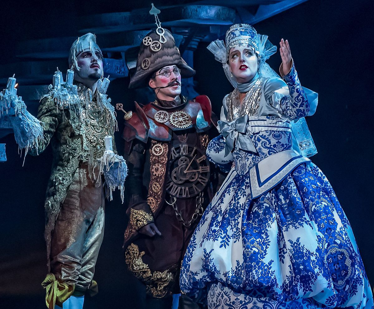 """Tony Carter (from left), Nick Cosgrove and Bri Sudia in """"Disney's Beauty and the Beast"""" at the Drury Lane Theatre in Oakbrook Terrace. 