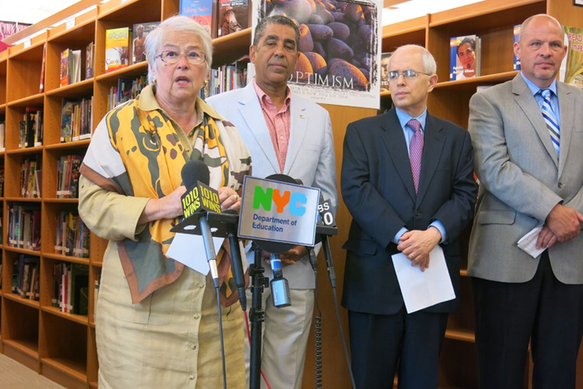 City and teachers union officials announced the schools that were selected to join a school-experimentation program.