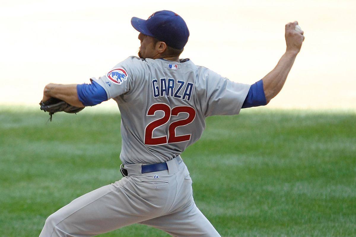 MILWAUKEE, WI - JUNE 07: Matt Garza #22 of the Chicago Cubs pitches during the game against the Milwaukee Brewers at Miller Park on June 7, 2012 in Milwaukee, Wisconsin. (Photo by Scott Boehm/Getty Images)