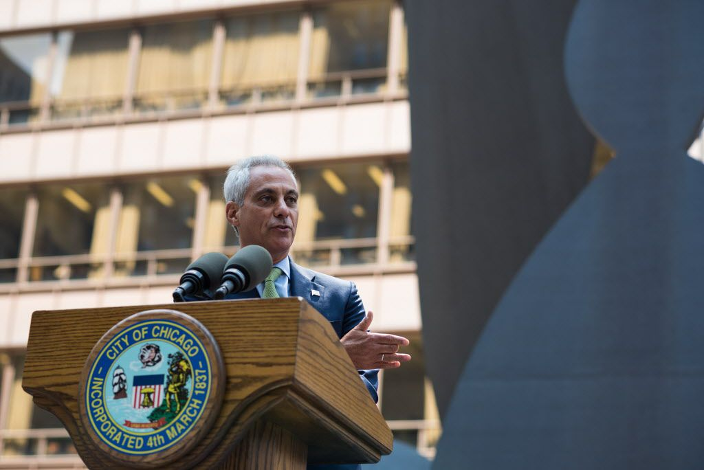Mayor Rahm Emanuel speaks at the 50th anniversary of the Picasso unveiling at Daley Plaza on August 8, 2017. | Max Herman/For the Sun-Times