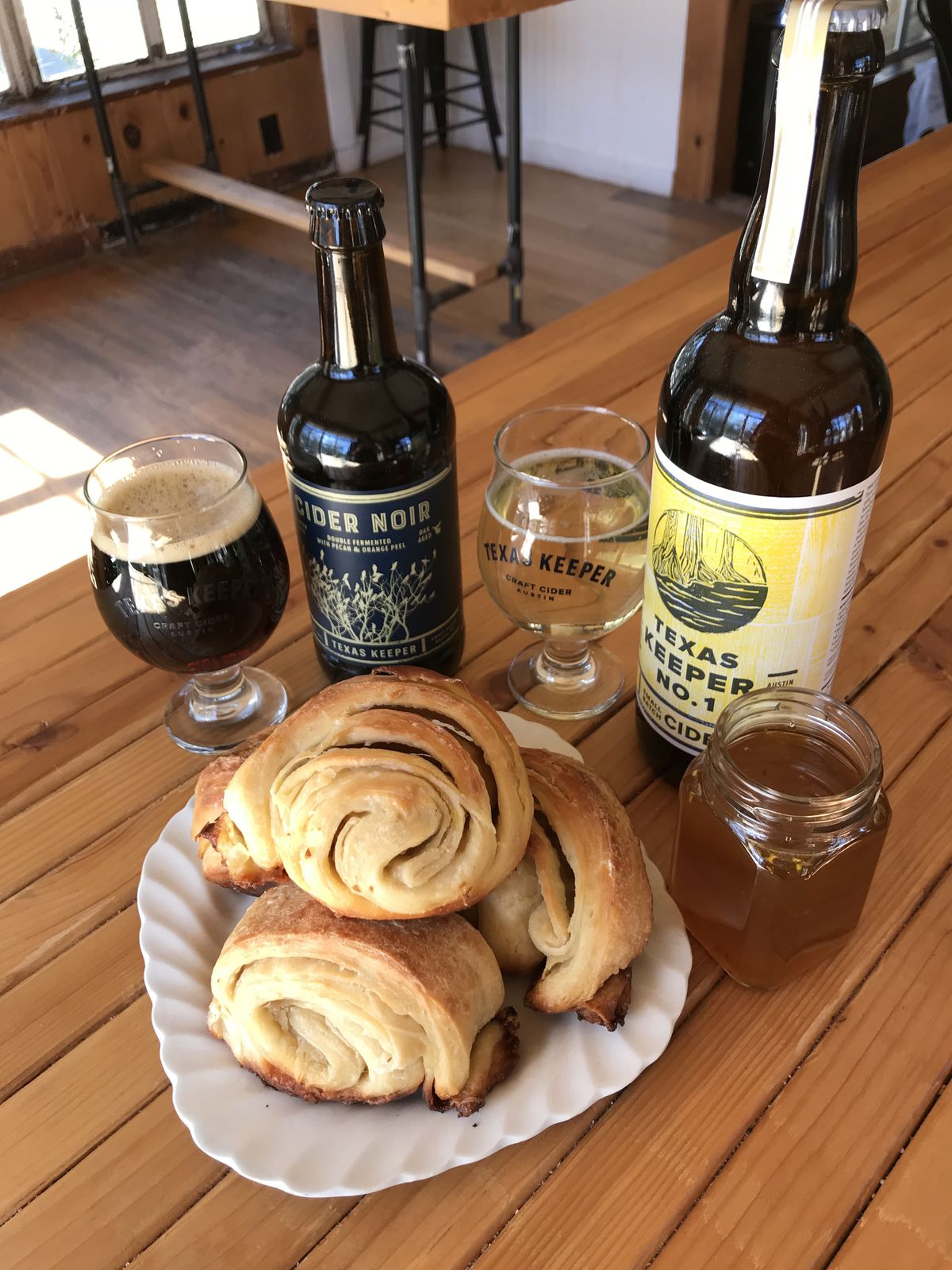 Naan croissants and cider