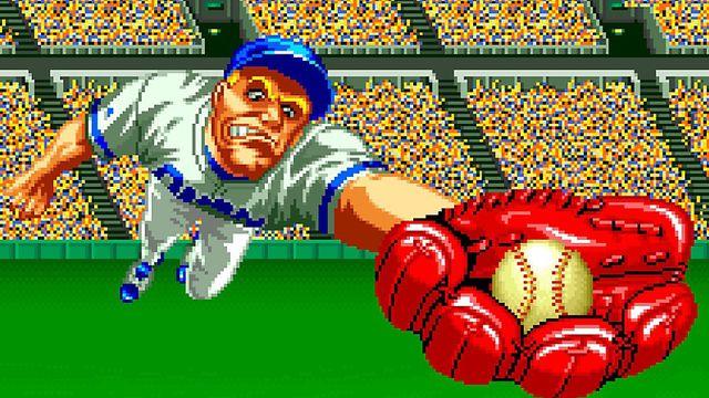 A screenshot of a player catching a ball in Baseball Stars 2