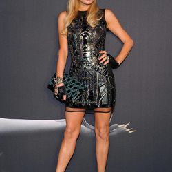 """Television personality Paris Hilton arrives at a """"Lady Gaga Fame"""" fragrance launch event at the Guggenheim Museum on Thursday, Sept. 13, 2012 in New York. The black tie masquerade event will feature a performance art piece by Lady Gaga, """"Sleeping with Gaga."""" The film for """"Lady Gaga Fame"""", directed by Steven Klein, will also be unveiled during the evening."""