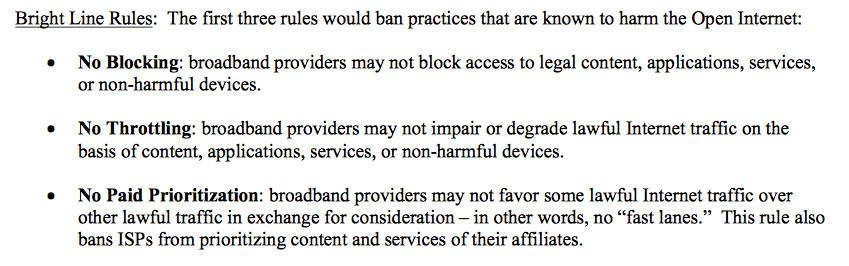 Main principles of FCC Chairman Tom Wheeler's net neutrality plan