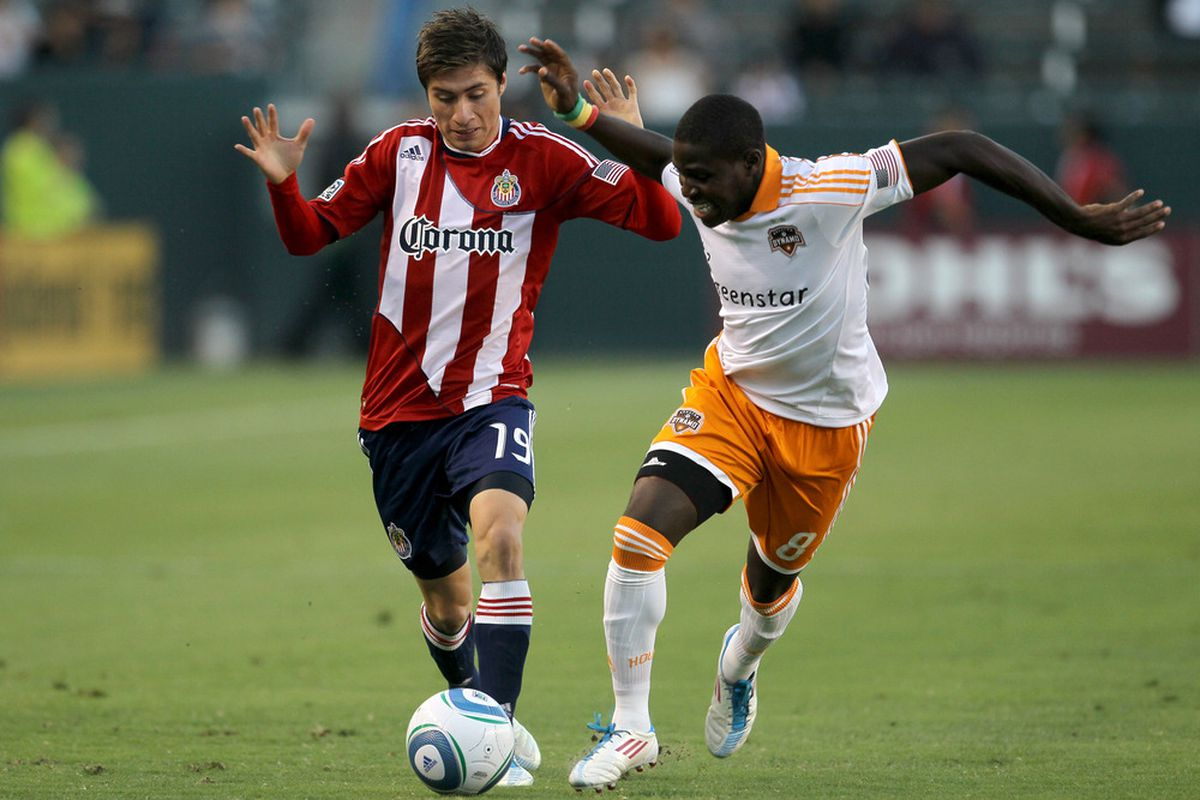 CARSON, CA - JULY 23: Chivas USA kick off the 2012 season at home against the Houston Dynamo (Photo by Stephen Dunn/Getty Images)