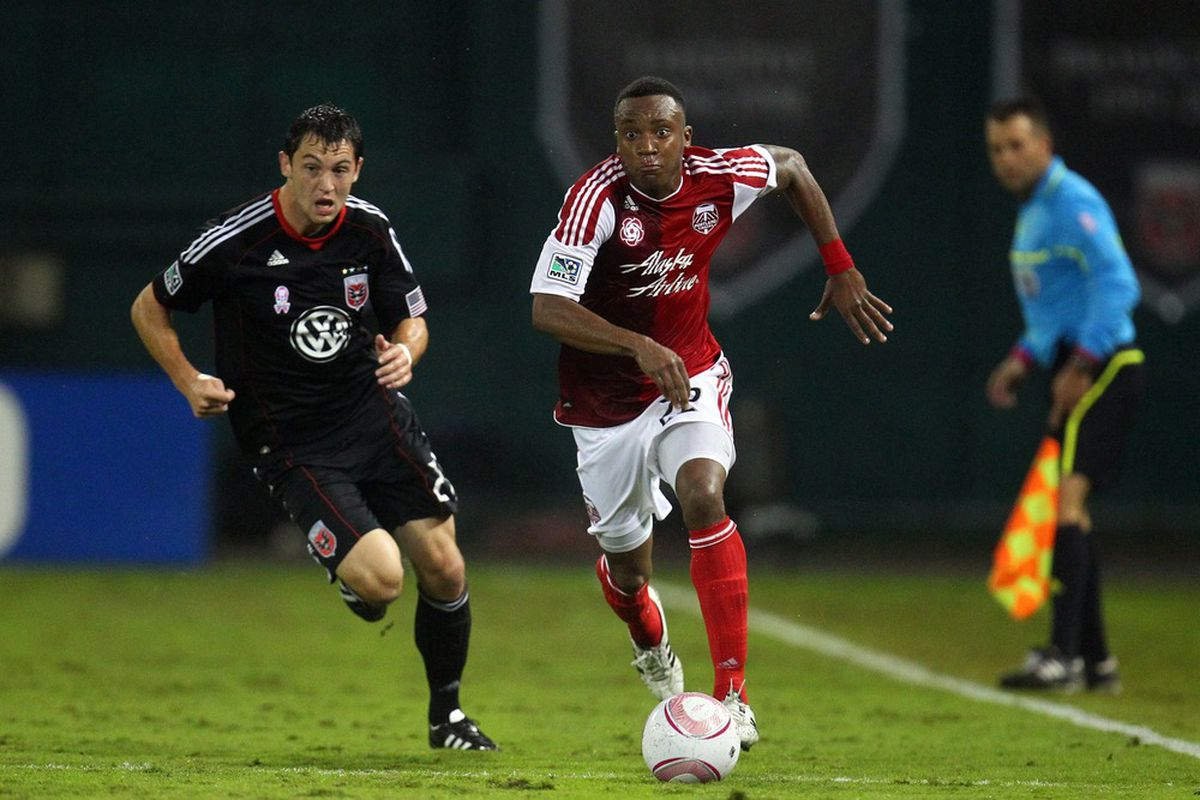 WASHINGTON, DC - OCTOBER 19: Rodney Wallace #22 of the Portland Timbers controls the ball against Blake Brettscheider #29 of D.C. United at RFK Stadium on October 19, 2011 in Washington, DC.(Photo by Ned Dishman/Getty Images)