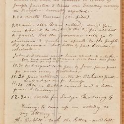 In an entry dated June 27, 1844, Willard Richards recorded the final events of Joseph Smith's life in his own personal journal, which he took with him to Carthage, Illinois. Instead of recording the entire entry after the fact, Richards probably inscribed some of the content in the Carthage jail on June 27. The concluding portions of the entry, which narrate the murders of Joseph and Hyrum Smith, may have been recorded by Richards that night or possibly during the next few days at Artois Hamilton's hotel in Carthage.