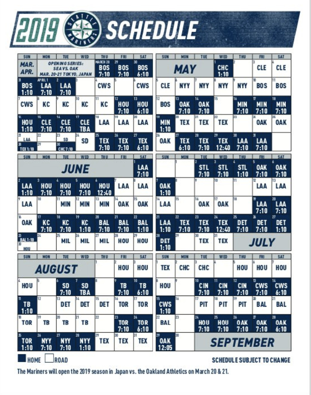 Seattle Mariners 2019 Schedule Seattle Mariners 2019 schedule: Japan, the Cubs, and nonsensical
