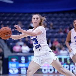 BYU's Paisley Johnson passes the ball to her teammate on offense during the Cougars' 65-54 win over Pacific at the Marriott Center in Provo on Saturday, Feb. 15, 2020.