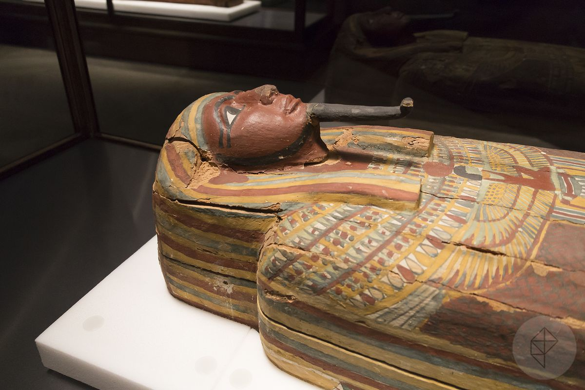 An ancient Egyptian coffin, likely from between 700 to 600 BC. Much of JP Brown's work deals with stabilizing and, at times, rebuilding artifacts such as these. He then documents the work, so that it may be undone or enhanced by future generations.